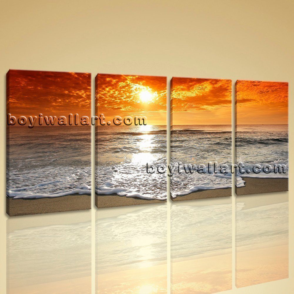 Large contemporary hd canvas wall art print sunset seascape living