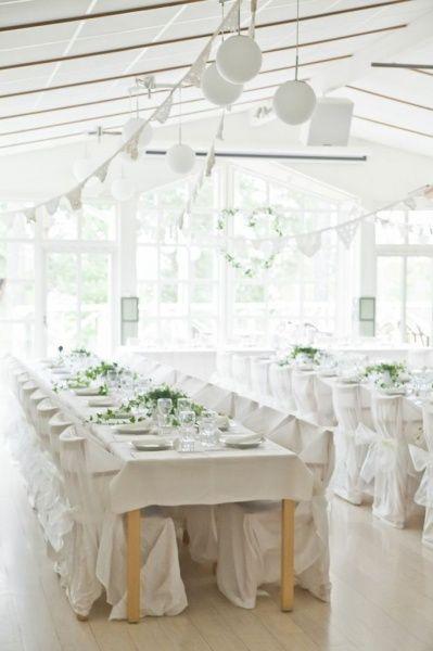 Bröllopsdukning - vitt&grönt!