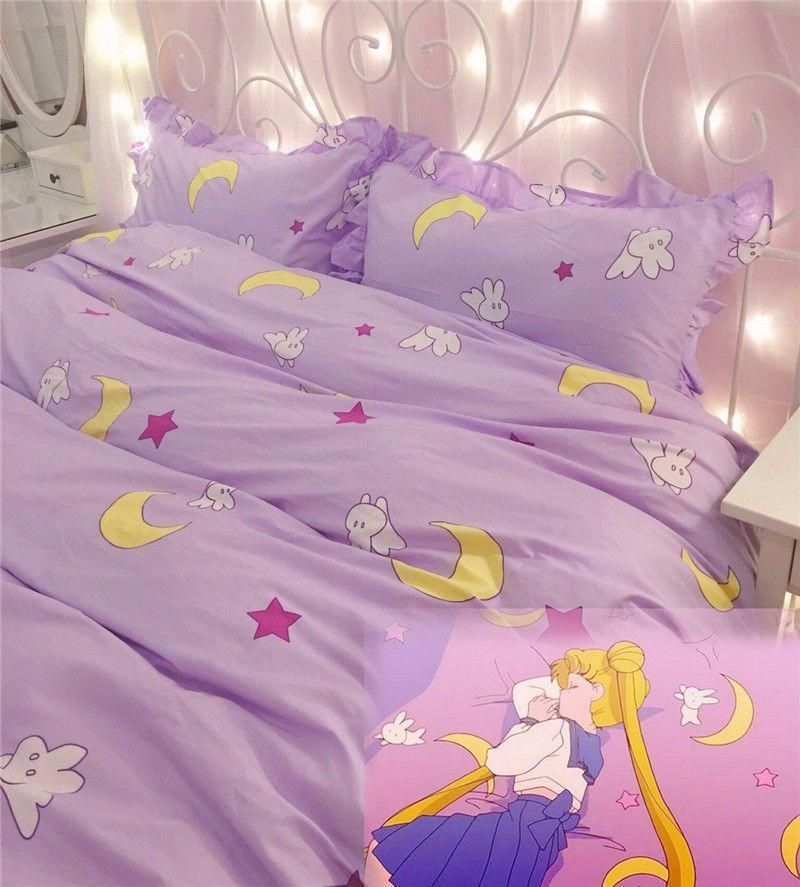 New Anime Purple Sailor Moon Bedding Set Home Decor Cotton Duvet Cover Sheet