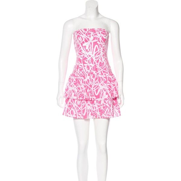 e9603402de00 Pre-owned Lilly Pulitzer Printed Strapless Dress ($65) ❤ liked on Polyvore  featuring dresses, pink, pink strapless dress, pink mini dress, pink dress,  ...