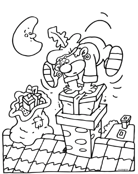 piet drukt een pakje in de schoorsteen sinterklaas