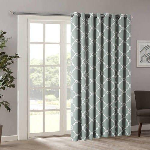 84 Inch Seafoam Color Fretwork Sliding Door Curtain Grey Sliding - cortinas para terrazas