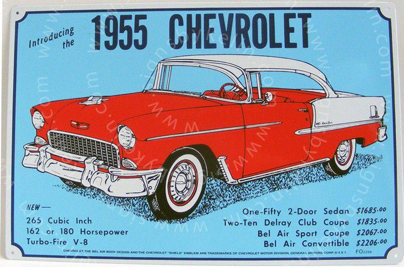 1955 chevrolet sign tin metal shop garage chevy bel air v8 for Garage bel auto 38400