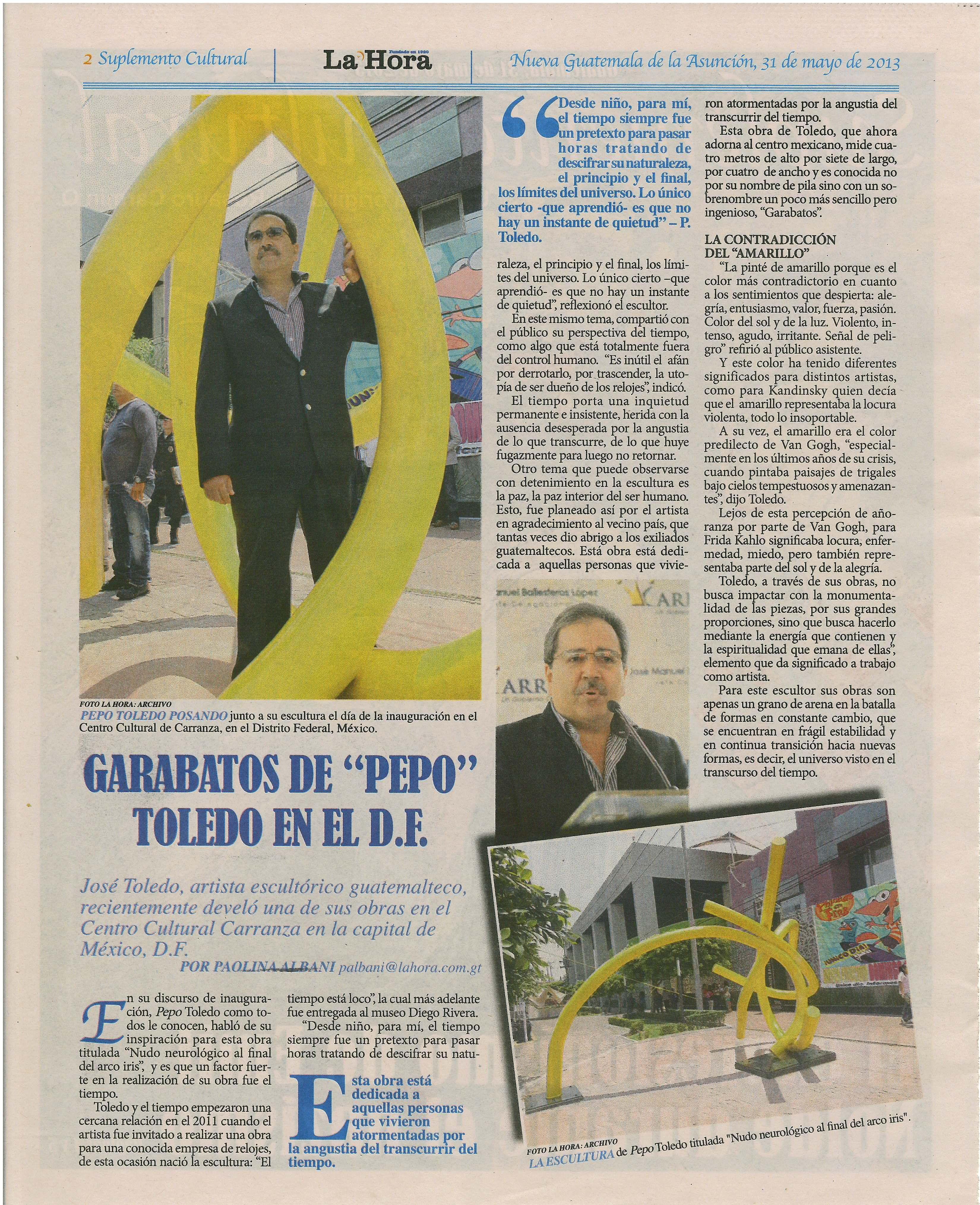 Develación de escultura Nudo Neurológico al Final del Arcoíris por el escultor plástico Pepo Toledo. #PepoToledoArt