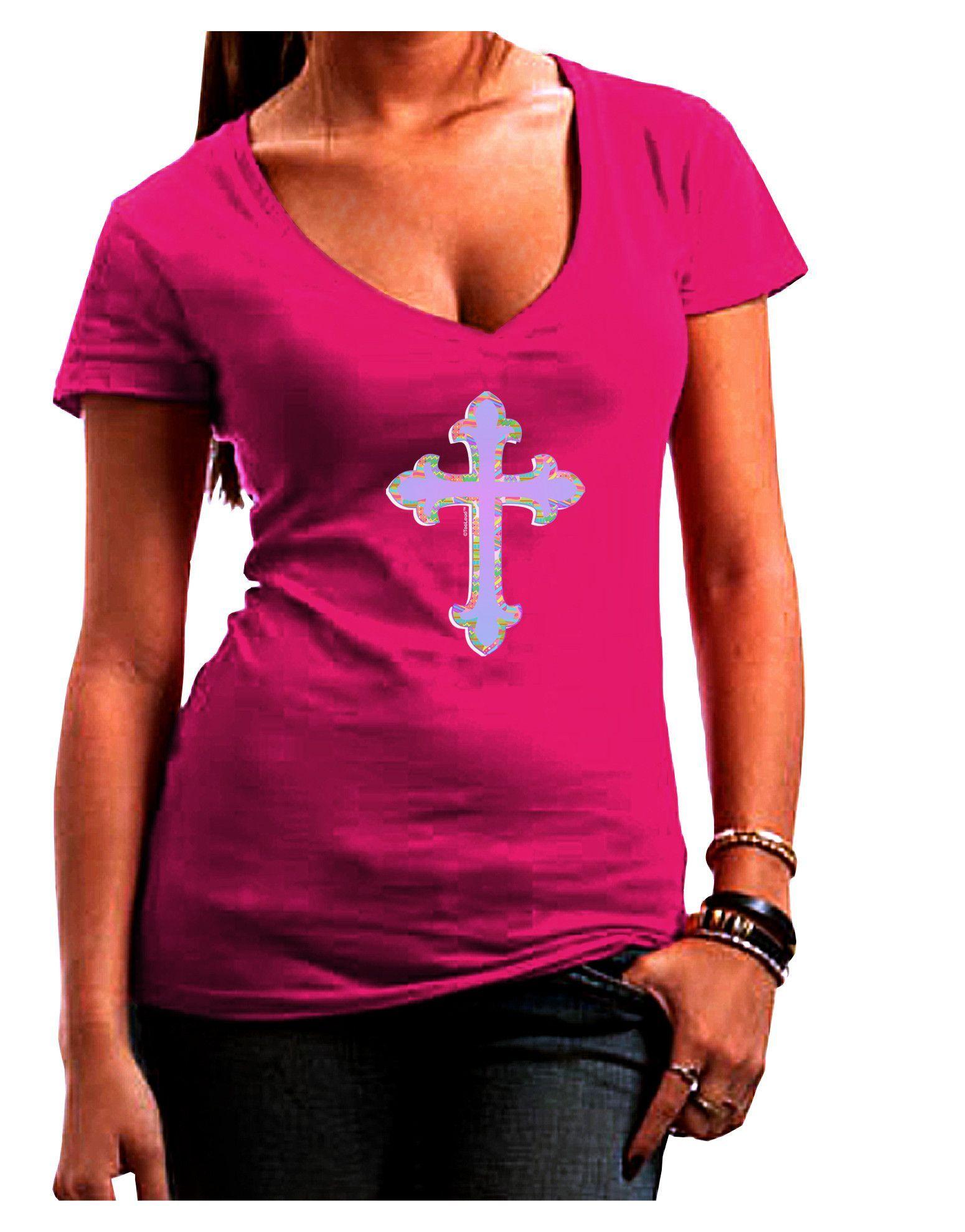 TooLoud Easter Color Cross Juniors Petite V-Neck Dark T-Shirt