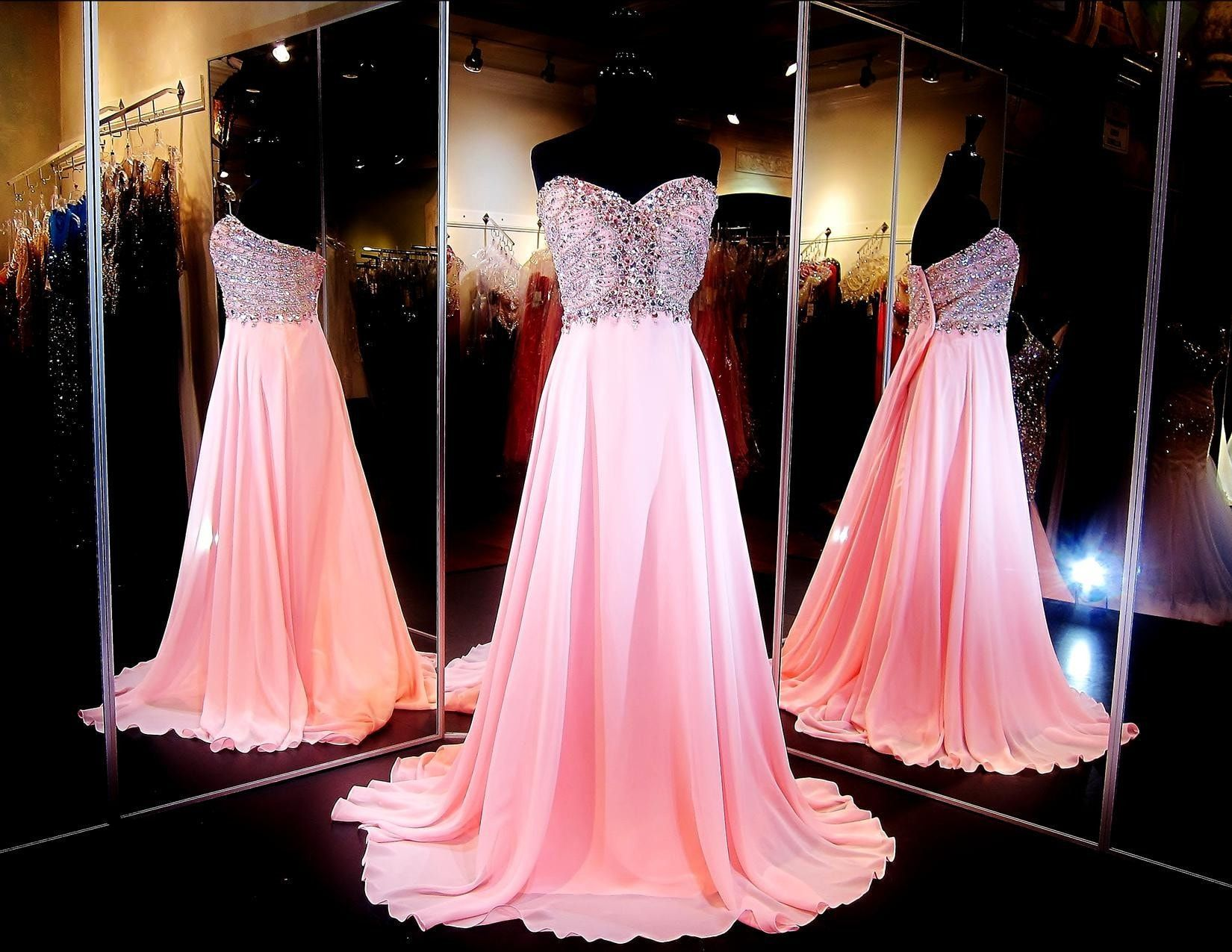 Pink Plus Size Chiffon Prom or Pageant Dress-Beaded Sweetheart ...