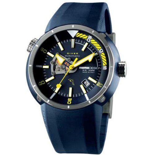 Momo Design DIVER AUTOMATICO MD1007L-BL-01BL-RB 47 Stainless Steel Case Blue Rubber Mineral Men's Quartz Watch