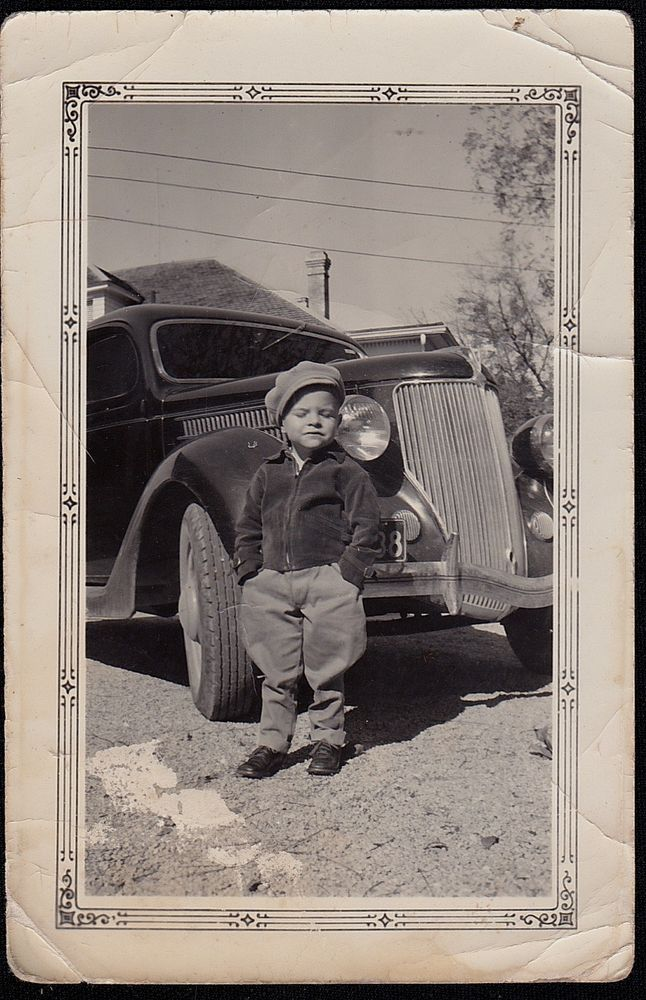 Old Vintage Photograph Little Boy Wearing Adorable Outfit Sitting By Antique Car