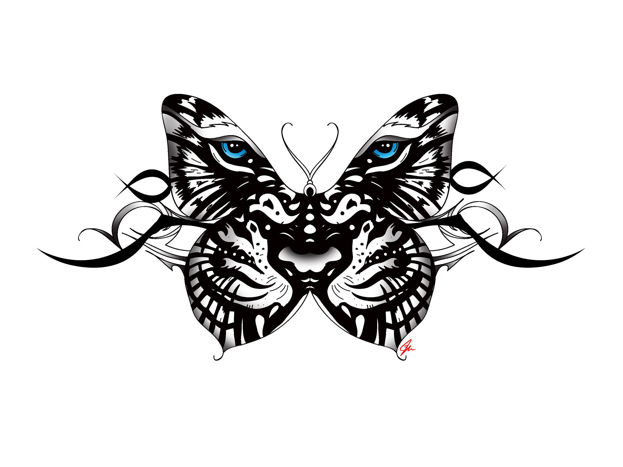 c74c59bf18bb6 white Tiger Butterfly tattoo with tribal accent. Back tattoo female blue  eyes. By JM