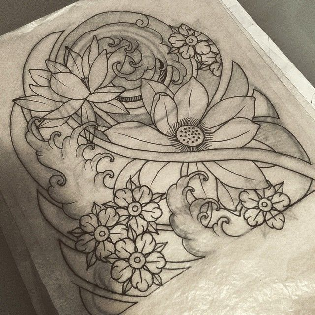 japanese flower cloud butterfly line drawing tattoo - Google Search ...