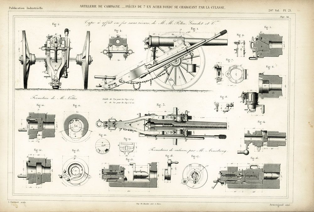 1872 plan canon de 7 se chargeant par la culasse artillerie de campagne plan dessin industriel. Black Bedroom Furniture Sets. Home Design Ideas
