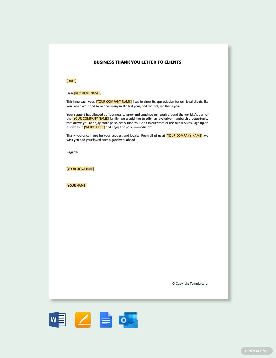 Business Thank You Letter Template To Clients Free Pdf Word Apple Pages Google Docs Outlook Thank You Letter Business Thank You Thank You Letter Template