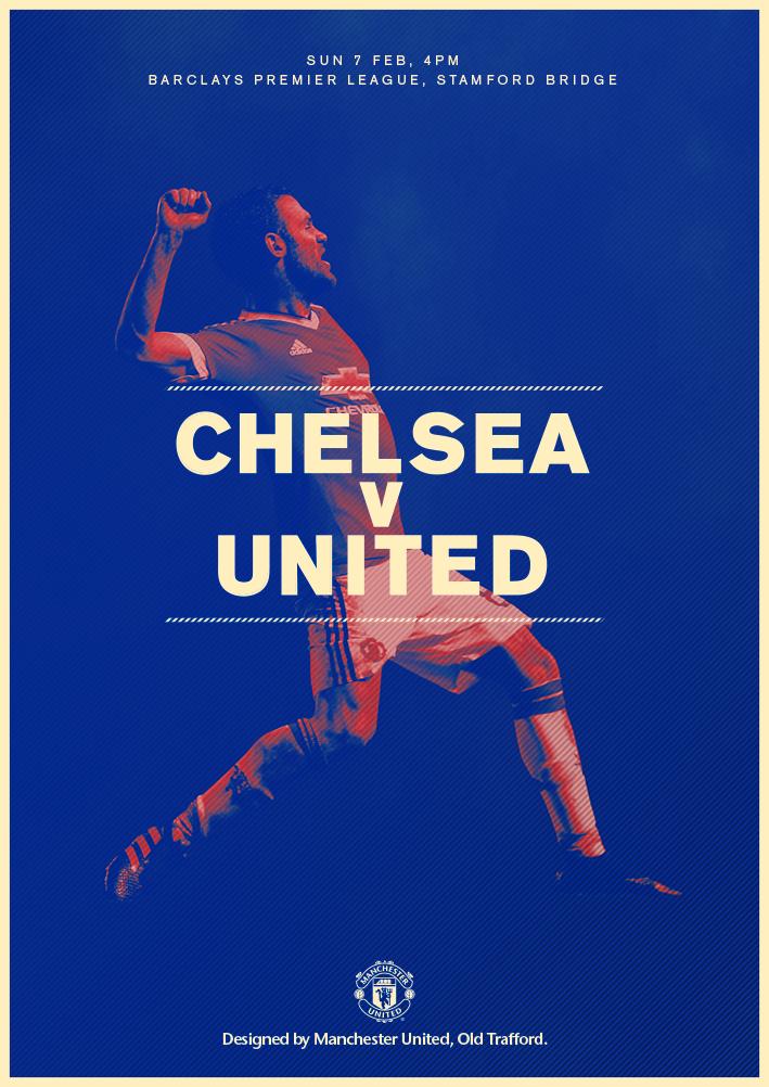 Match Poster Chelsea V United 7 February 2016 Designed By Manutd Manchester United Soccer Poster Football Poster