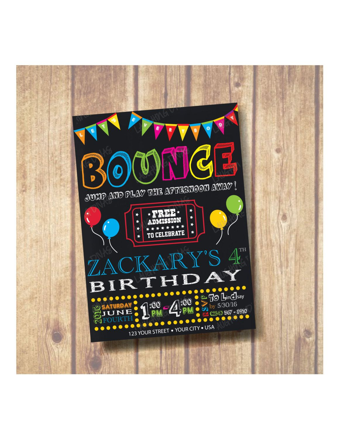 bounce house theme birthday party invitation chalkboard bounce