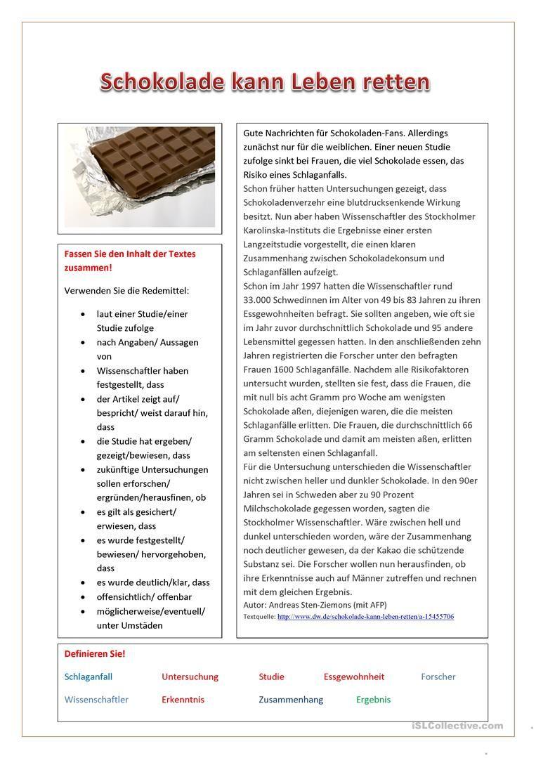 Schokolade kann Leben retten Arbeitsblatt - Kostenlose DAF ...