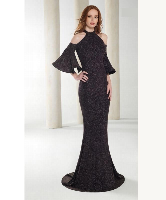 robe longue avec manches et paules d nud es d collet am ricain forme fourreau strass noir