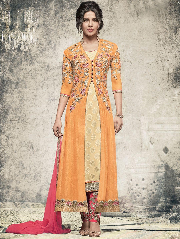 157d7f675a Shop Orange designer georgette salwar suit online from G3fashion India.  Brand - G3
