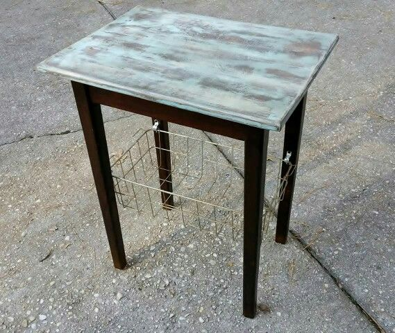 Rustic Side Table w/Distressed Finish
