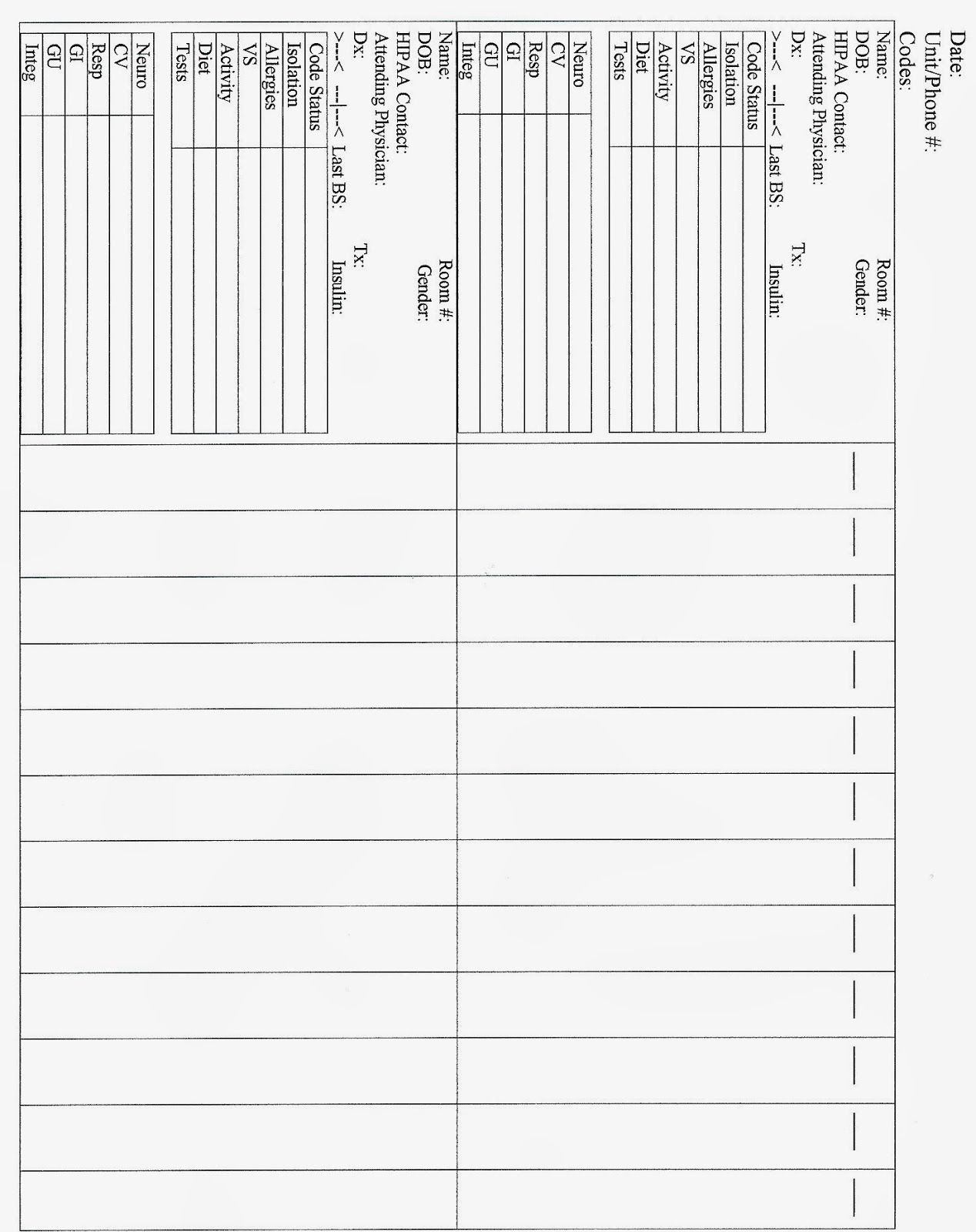Free Printable Nursing Change Of Shift Report Sheet In 2020 With