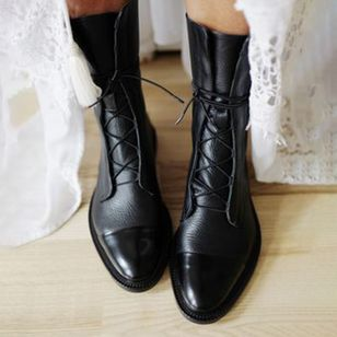 Buty Kobiece Z Okraglym Noskiem Niski Obcas Lace Up Floryday Leather Lace Up Boots Flat Heel Boots Brogue Boots