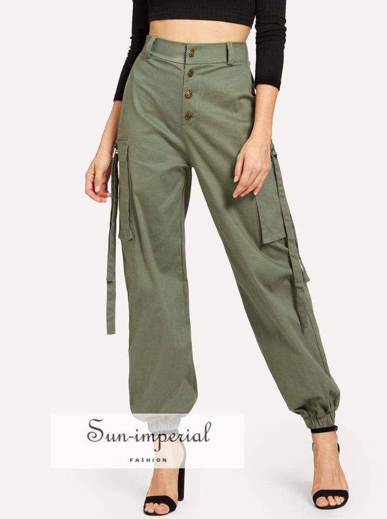 Button Decorated Pocket Utility Pants in 2019 ...