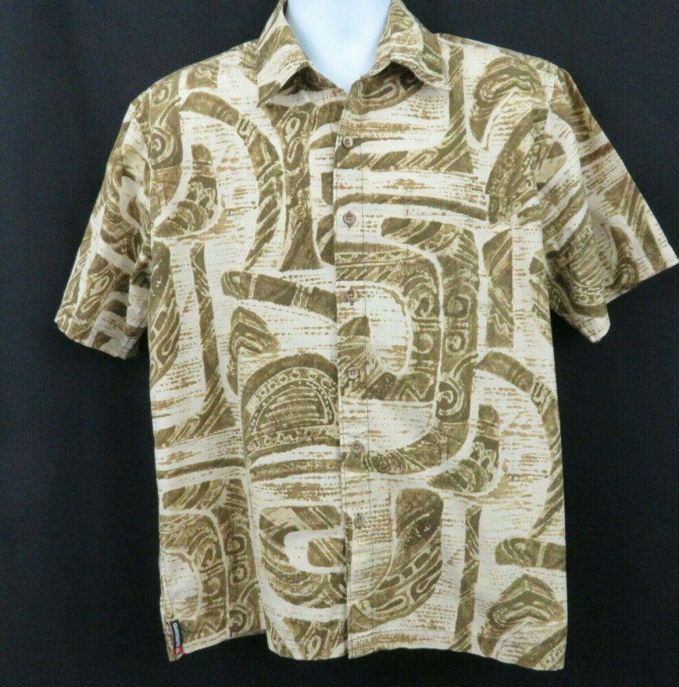 f963153c Quiksilver Brown Beige Mens M Hawaiian Aloha Shirt 100% Cotton SS  #Quiksilver #Hawaiian