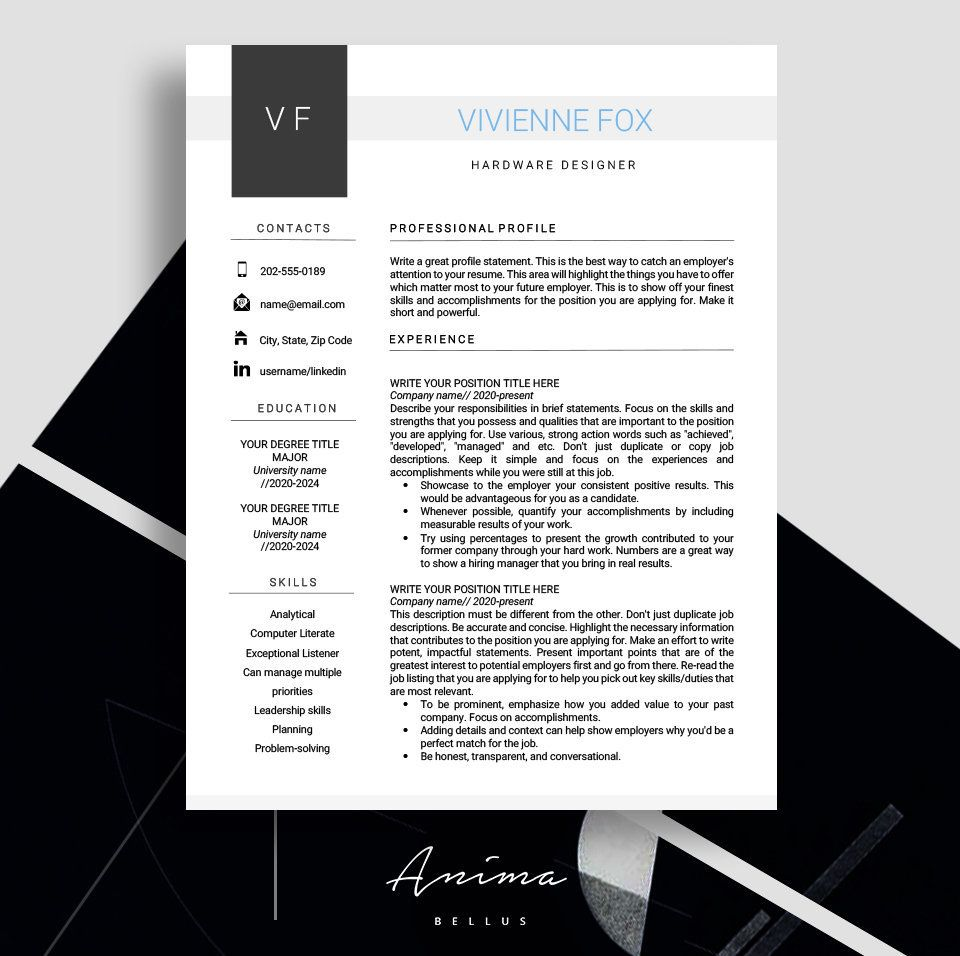 Resume Cv Templates Resume Template Professional Free Etsy Resume Template Cover Letter Template Free Resume Template Professional