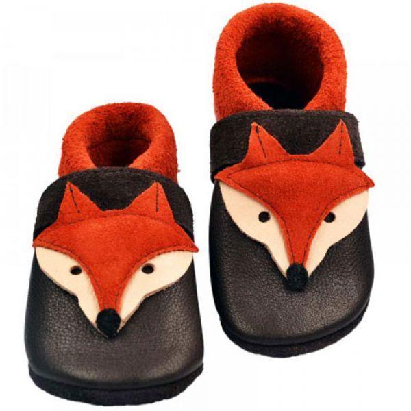 Hochwertige Verarbeitung und süsses Fuchs-Design von Pantolinos Krabbelschuhe aus pflanzlich gegerbtem Leder aus dem Allgäu . #Babyschuhe #Krabbelschuhe