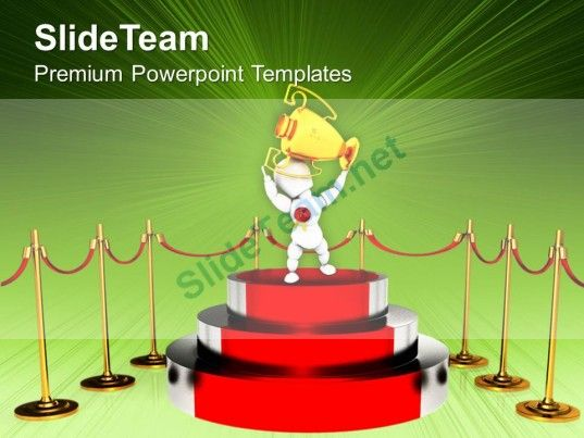 Podium For Winner With Red Carpet Trophy Powerpoint Templates Ppt Themes And Graphics 0113 PowerPoint