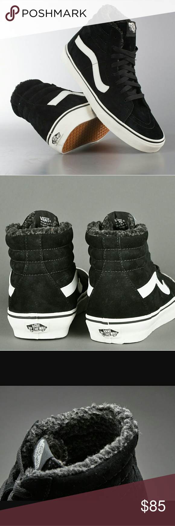 346645dadd SALEVANS PIG SUEDE FLEECE SK8-HI NEW VANS BRAND NEW (NO TAGS OR BOX) SOLD  OUT PIG SUEDE FLEECE SK8-HI BLACK SUEDE SIZE 9M 10.5W LACE UP HIGH TOP