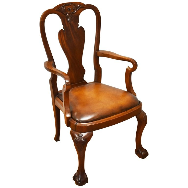 20th Century Queen Anne Revival Solid Mahogany Armchair Queen