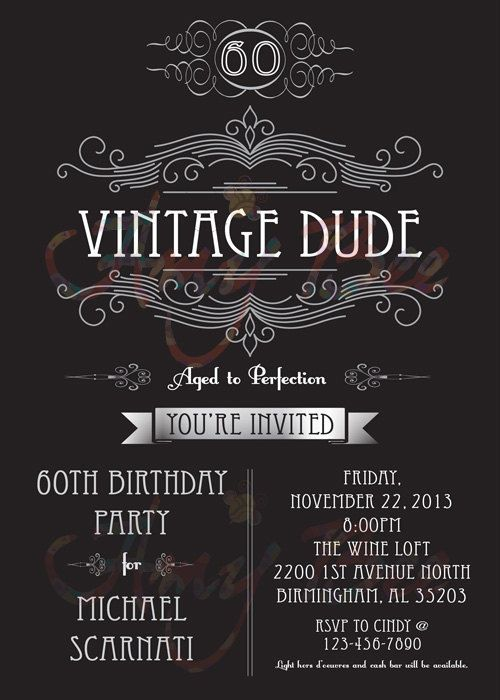 Vintage Dude Invitation Man Birthday By AmyBeeCreations On Etsy 70 PartiesMan