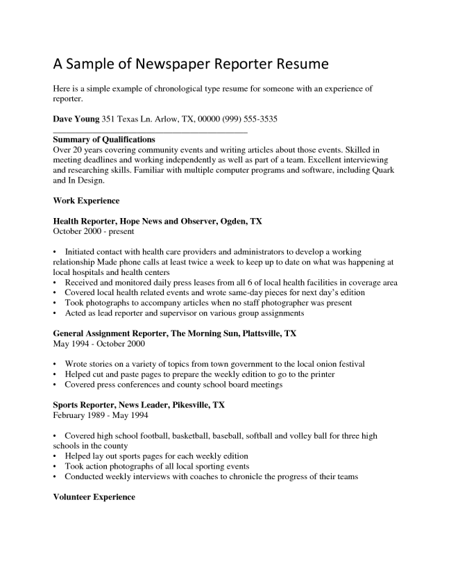 How To Type A Resume Pleasing Cover Letter Journalist Positionsample Journalism Cover Letter