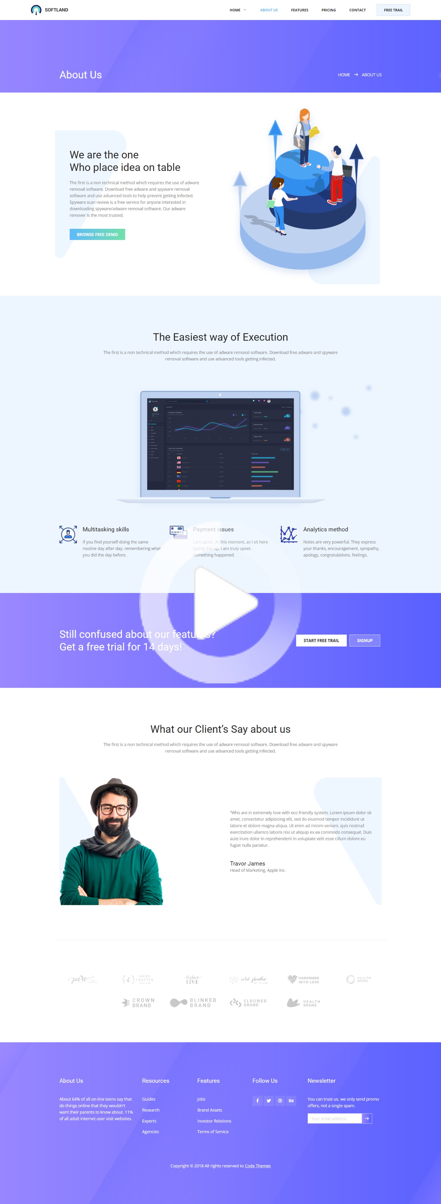 Softland Creative Clean Modern Trendy Design Saas And Software Template Gradient About Us Page Web Clean Web Design Web Design Web Design Quotes
