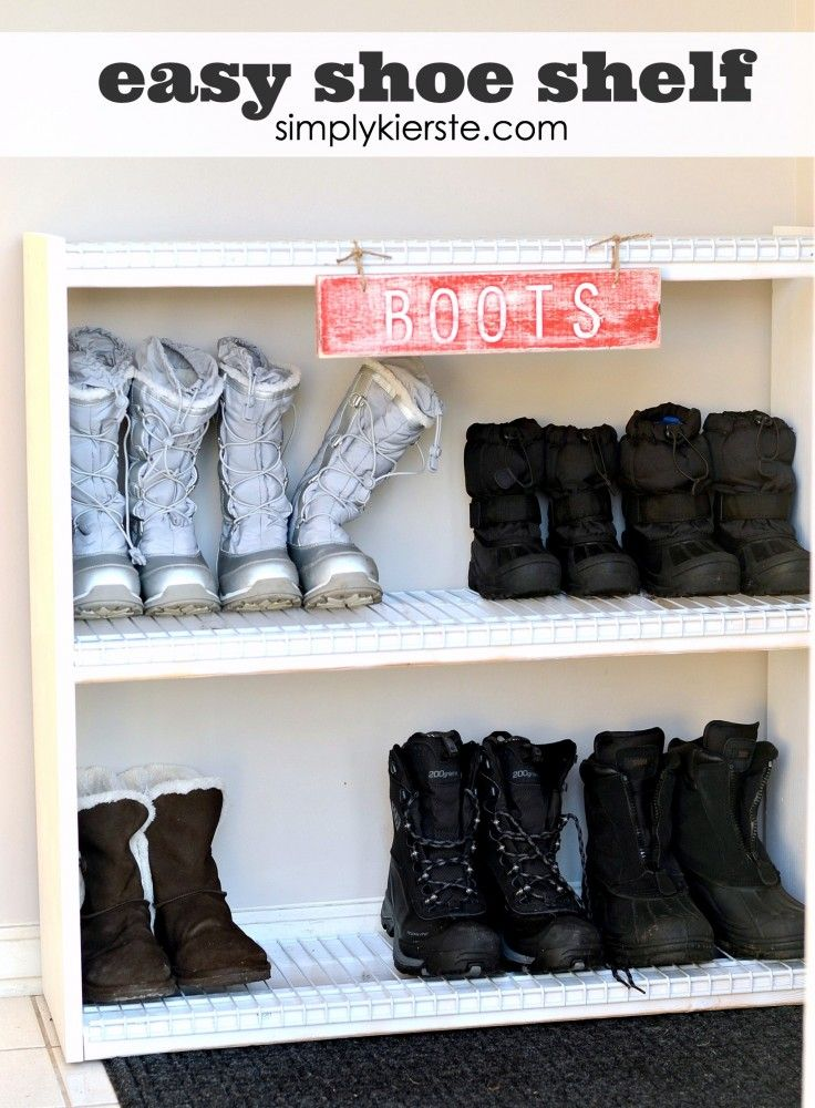 This DIY Shoe Shelf is super easy to make, and will save your home from mud, dirt, sand, and everything else that comes on the bottom of shoes. :)