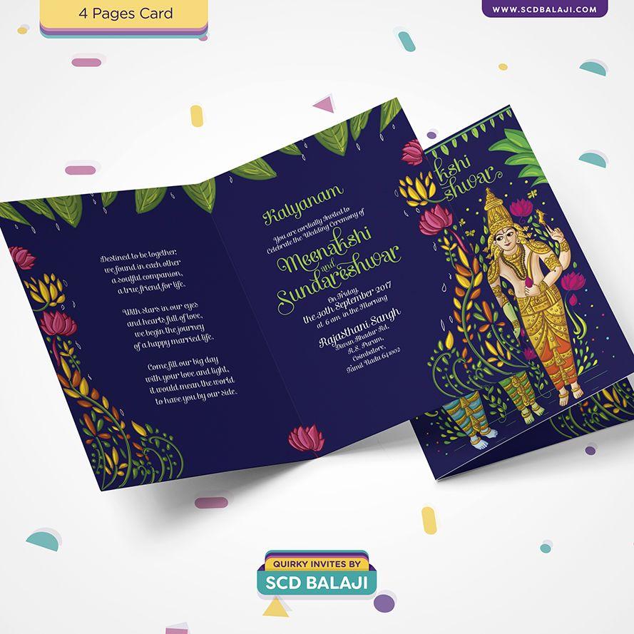 Meenakshi Sundareshwar Wedding Invitation Traditional Tamil Brahmin Wedding Invitation Design Portrays The Celestial