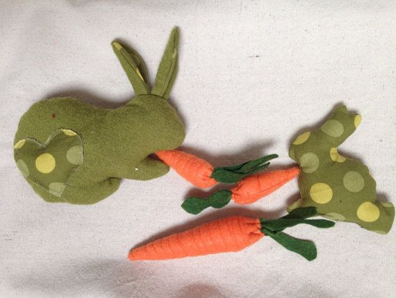 Easter bunny set mother and polka dot baby with carrots by red easter bunny set mother and polka dot baby with carrots by red robin a bobbin negle Choice Image
