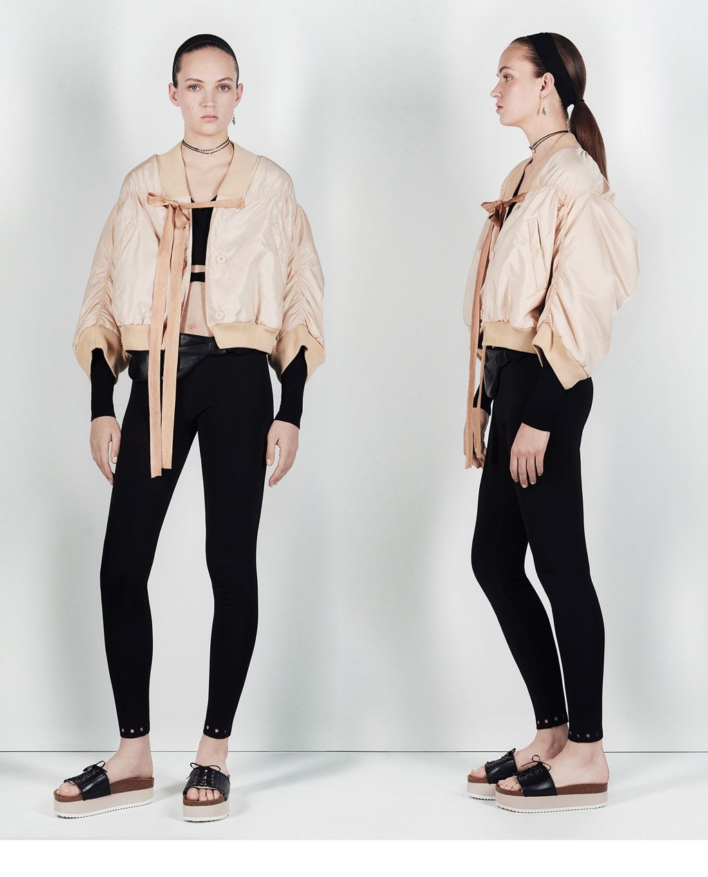 STUDIO CROPPED BOMBER JACKET WITH FULL SLEEVES (с