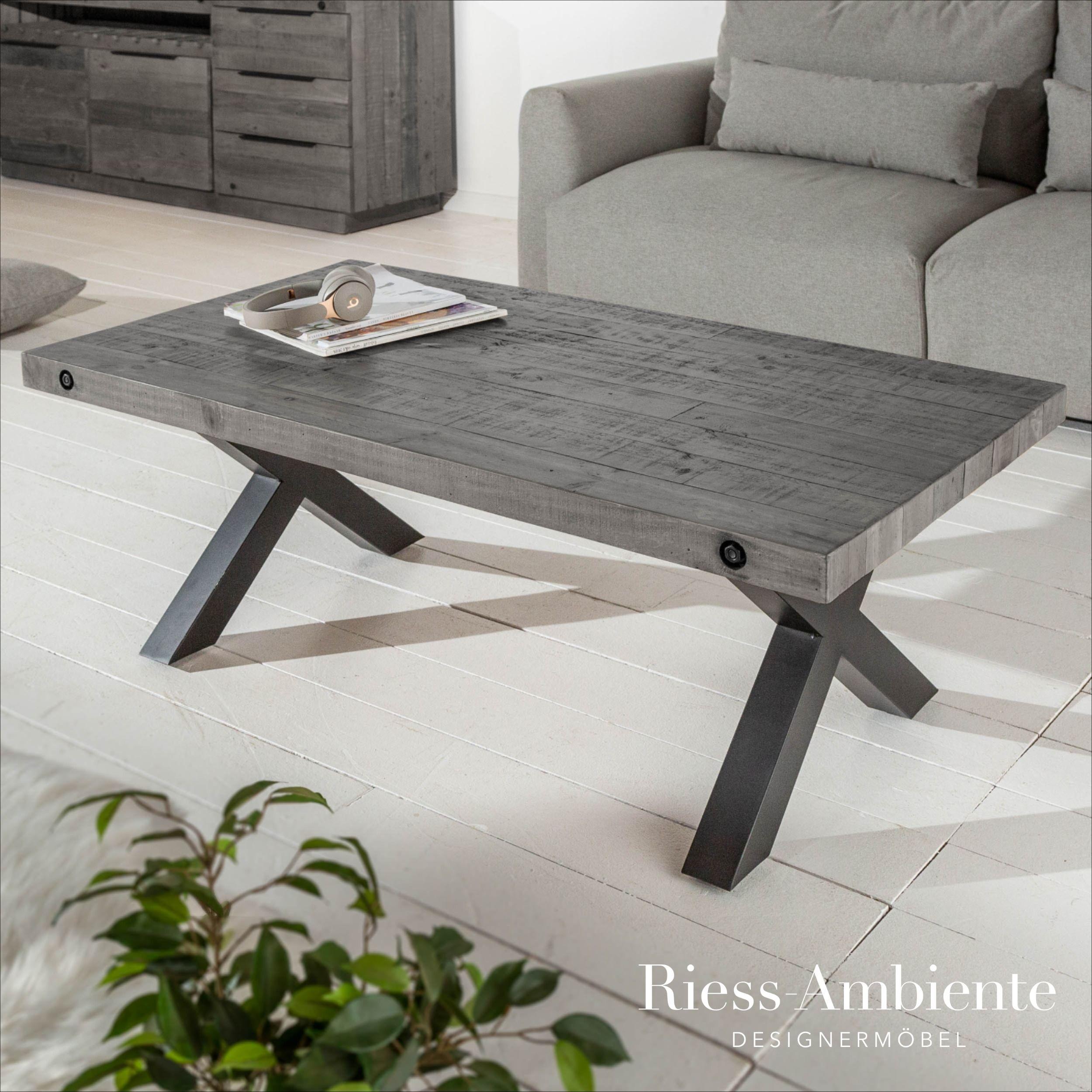 Massiver Couchtisch Thor 110cm Grau Recyceltes Pinienholz Industrial Design X Gestell Riess Ambiente De Couchtisch Wohnzimmertische Sofa Tisch