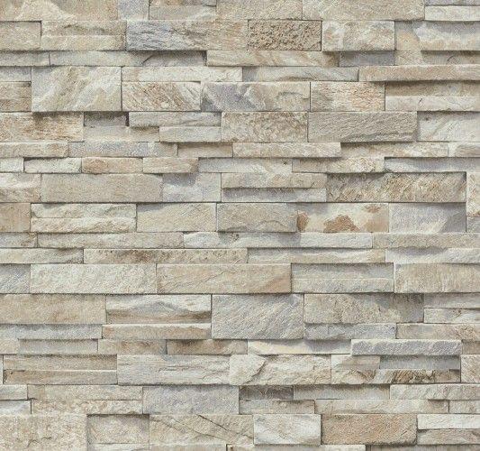 Steintapete 3D Vliestapete Stein Optik P+S Einfach schöner - steintapete beige wohnzimmer