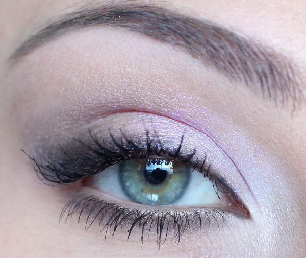 Simple light pinks & whites to make bright eyes pop .