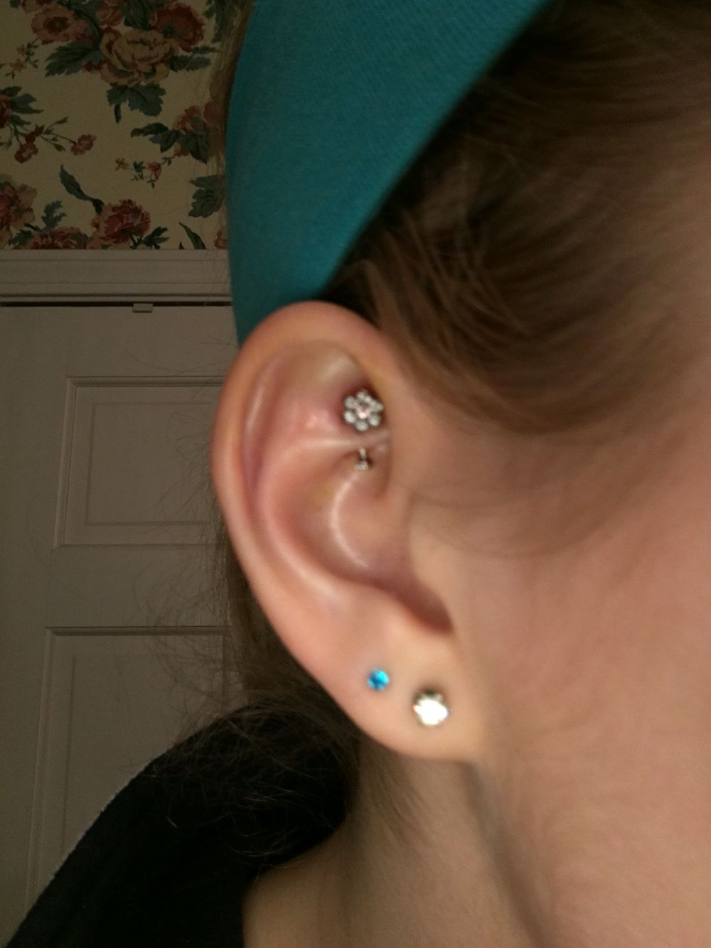 My New Rook Piercing This One Was Painful After The First Week But Barely Hurt Anymore