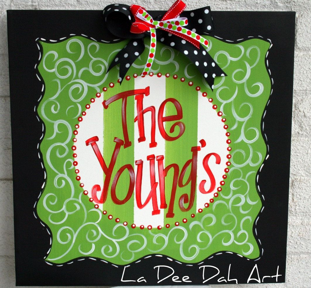 Hand Painted Merry Christmas Canvas Sign Room Decor Personalized. $45.99, via Etsy.