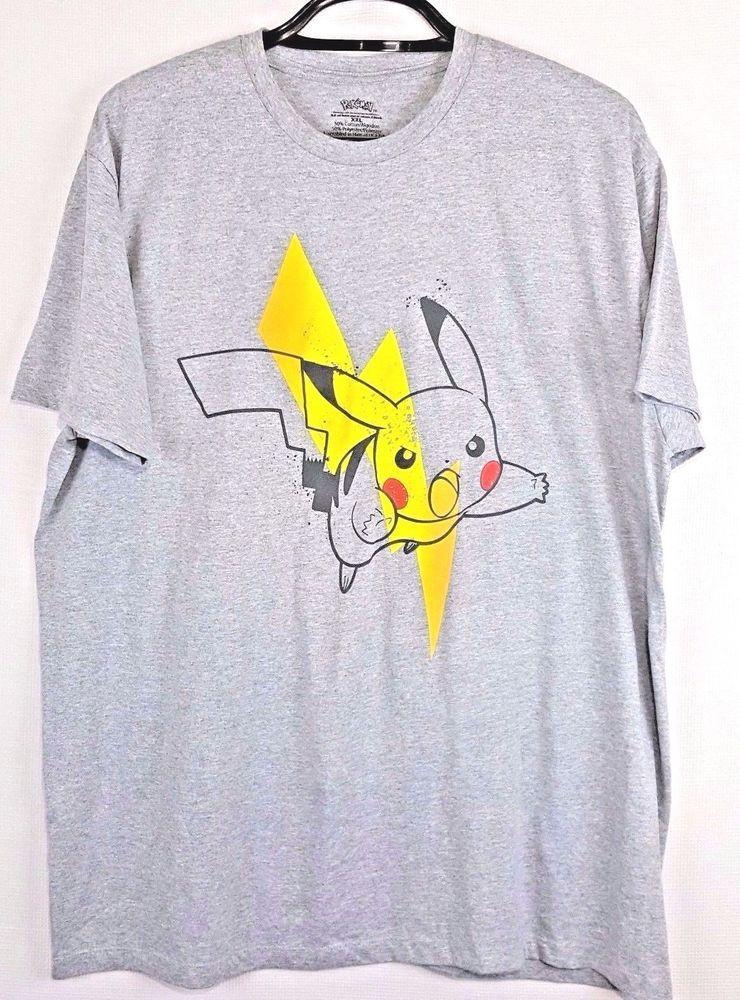 40c64652b4f01 Pikachu Pokemon Mens Shirt Gray Short Sleeve Jump Yellow Lighting Top Size  XXL  Pokemon  GraphicTee