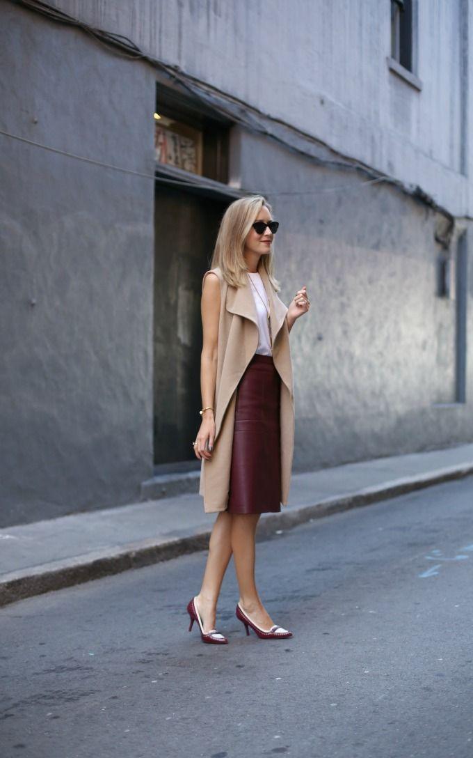 Burgundy Leather Skirt for Work | MemorandumMEMORANDUM, formerly The Classy Cubicle