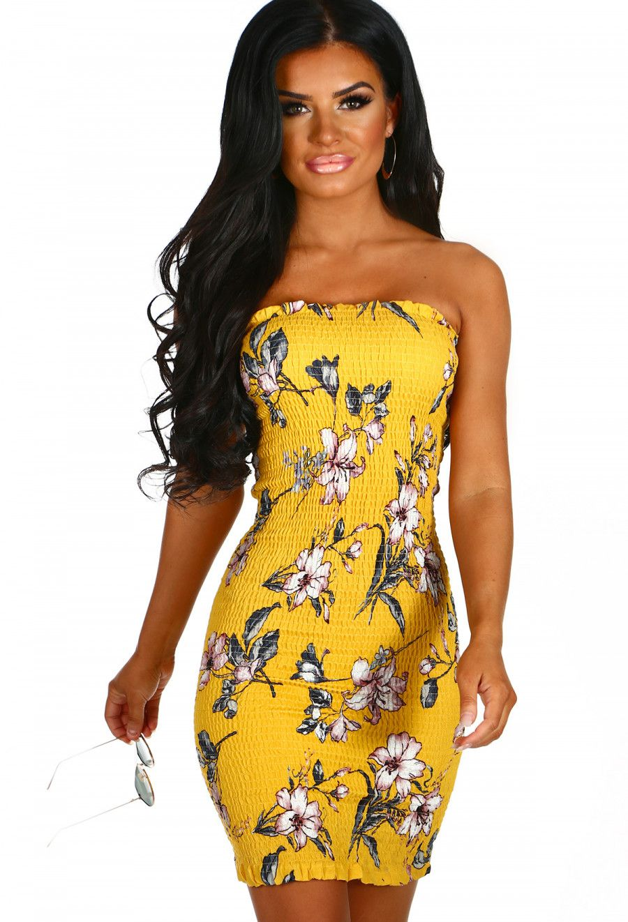 Sunset Boulevard Yellow Floral Strapless Bodycon Mini Dress Pink Boutique Body Con Dress Outfit Yellow Mini Dress Yellow Floral Dress [ 1322 x 900 Pixel ]