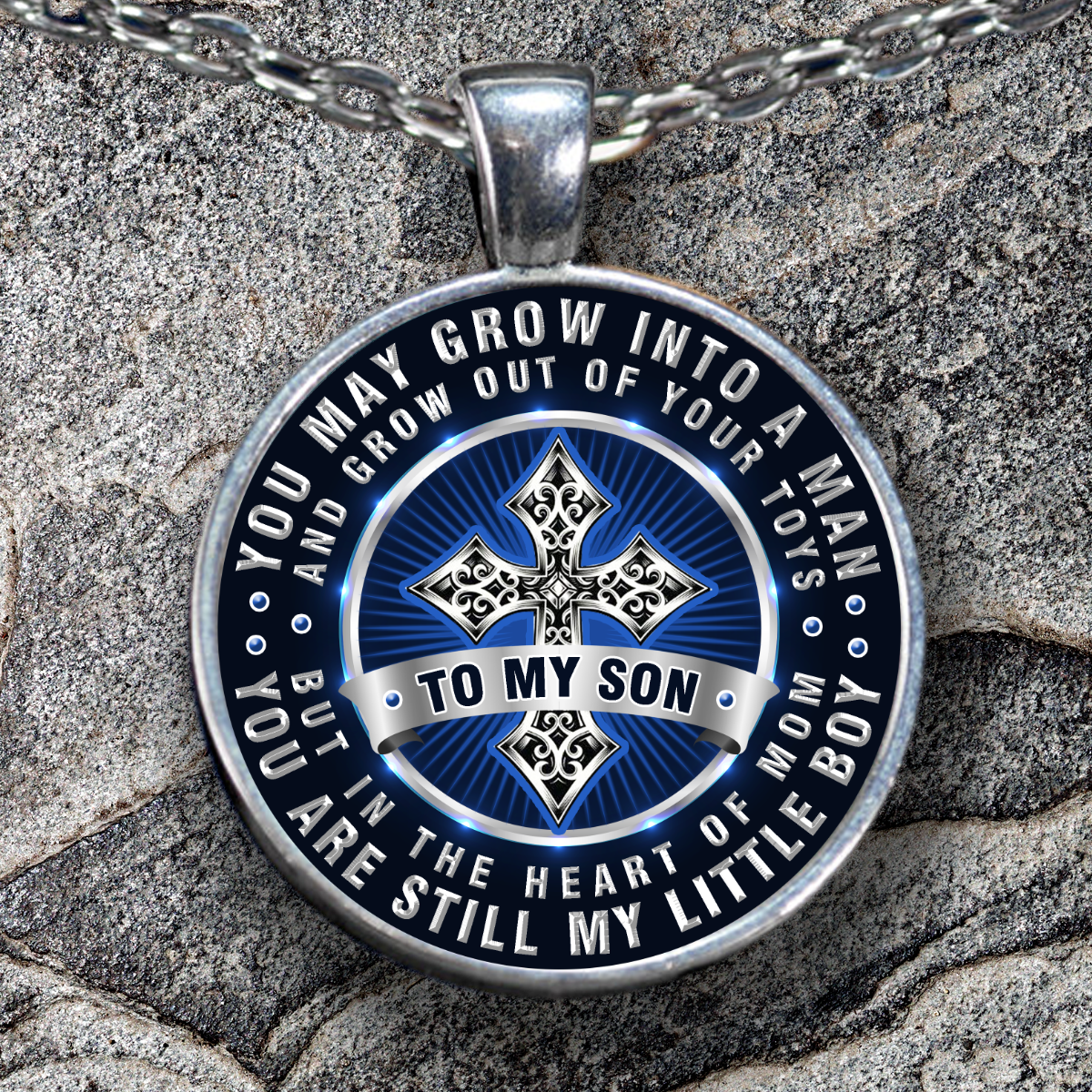 To my son, from mom, you're still my little boy quote pendant necklace To the special little boy who may have grown into a man, but he's still your baby. Let him know with this wonderful pendant necklace, only available for a limited time! #littleboyquotes