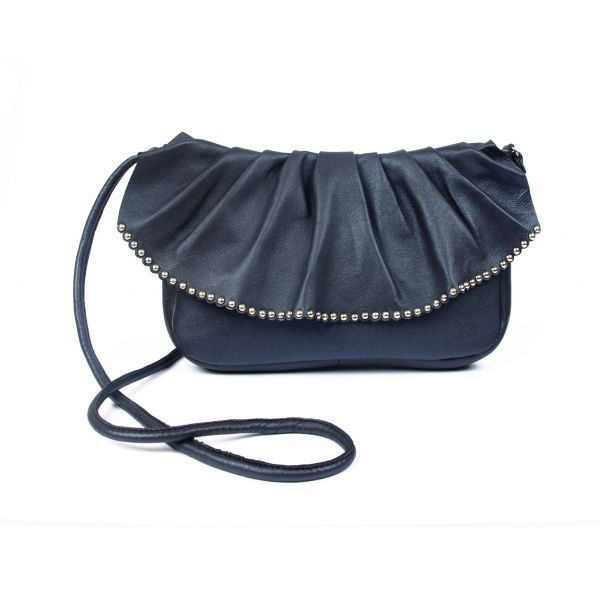 navy Faye purse with studs - handmade with love