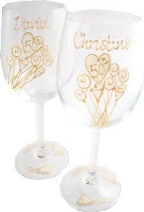 Personalised 50th Wedding Anniversary Wine Glasses Pair by Dreamairshop Ltd UK. $65.00. initialled by the artist and boxed with aÊcard of authenticity of our Casas range. 35 characters EXTRA personalisation per glass suggestion: name and numbered date. Use gift box text icon when at checkout to put in personalisation details. hand painted by Dreamair Ltd in the UK. Holds 11 fl oz height 8in. 50th Wedding Anniversay Wine Glasses hold 16 fluid oz, height 8in.Hand ...