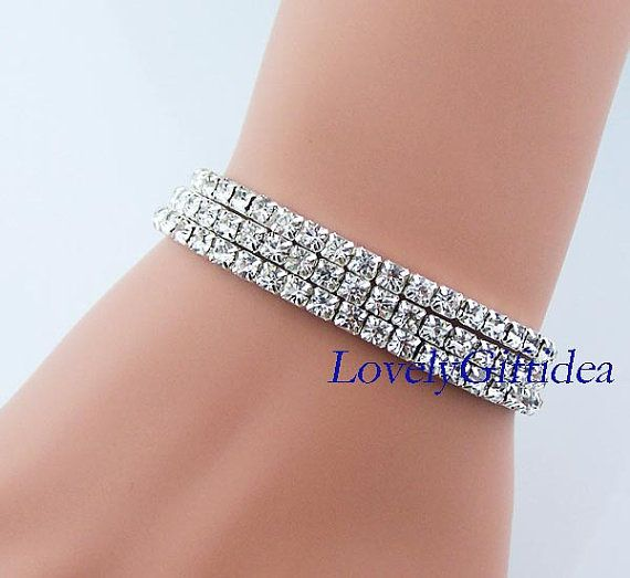 3 Set Diamond Bracelet Sparkling Artificial By Lovelygiftidea Jewelry Party Wedding Bridesmaid